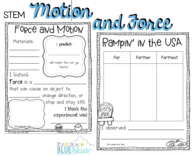 STEM Force and Motion FREEBIE First Grade Blue Skies – Forces and Motion Worksheet