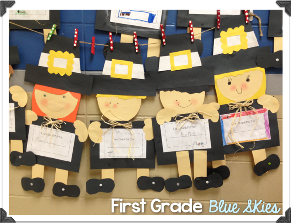 Thanksgiving pilgrim and turkey crafts first grade blue for Thanksgiving craft ideas for kindergarten