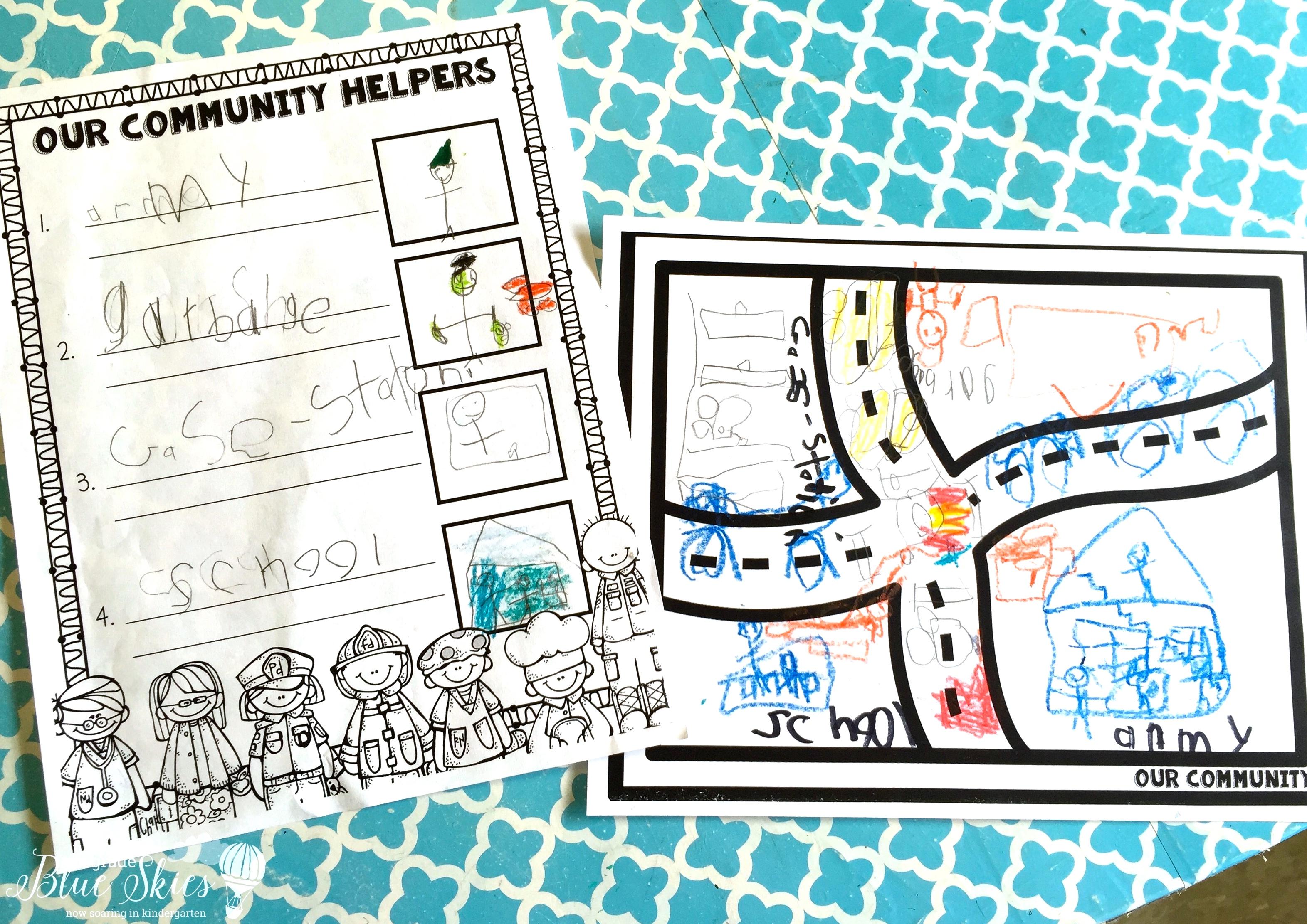 community helper group activity first grade blue skies